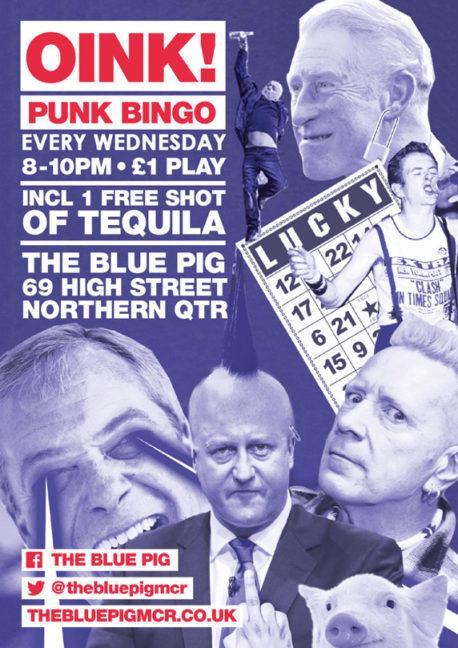 Oink Punk Bingo Blue Pig Manchester