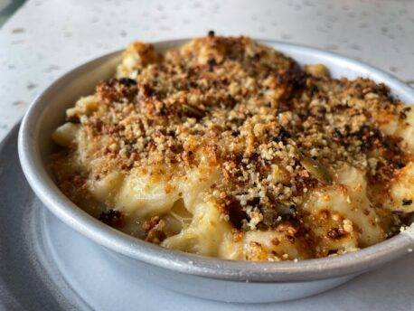 Macaroni cheese with a pumpkin seed crust (£8) at Open Kitchen Manchester by Ruth Allan Manchester Wire