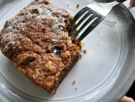 Root veg, raisin and chia seed cake (£2.50) at Open Kitchen at People's History Museum by Ruth Allan, Manchester Wire